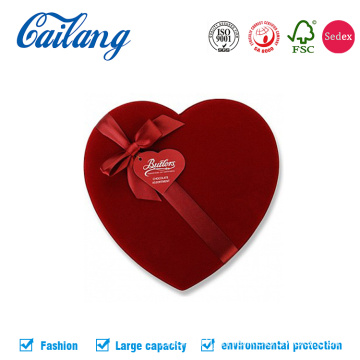Red Fabric Heart-Shape Box untuk Chocolate dengan Divider